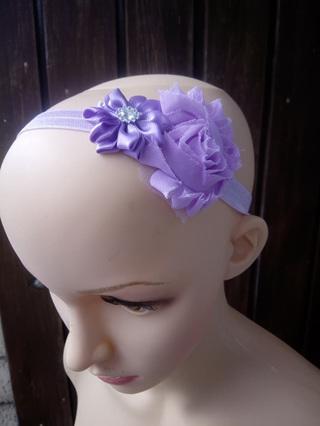 Double Flower Hairband - Purple
