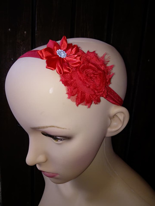 Double Flower Hairband - Red