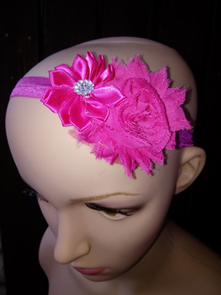 Double Flower Hairband - Rose Pink