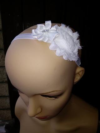 Double Flower Hairband - White