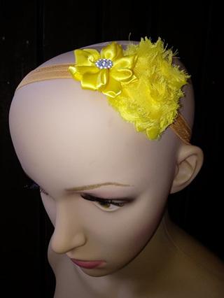 Double Flower Hairband - Yellow