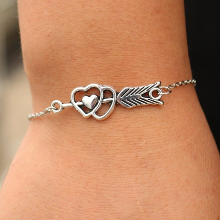 Double Heart with Arrow Cupid Bracelet