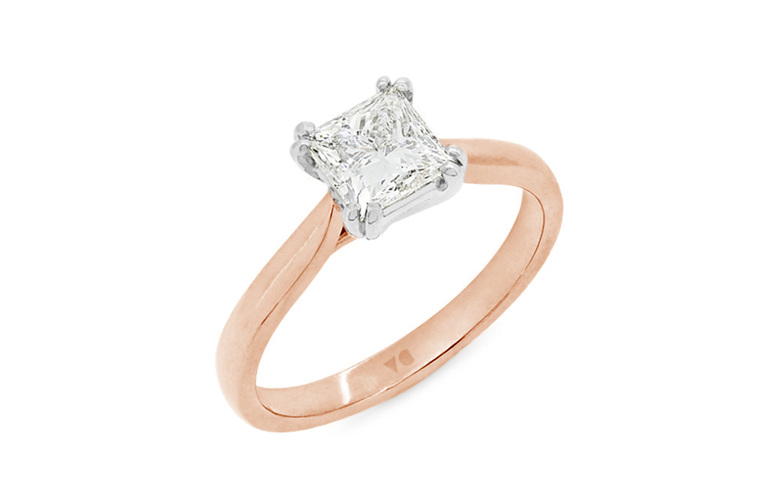 double prong princess cut solitaire engagement ring in 18ct rose gold