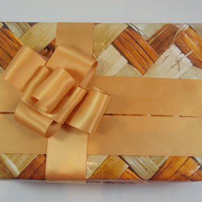 Double-Sided Satin Ribbon: Old Gold