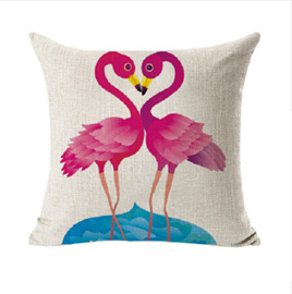 DOUBLE TROUBLE FLAMINGO CUSHION COVER