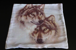 Double Wolves Cushion Cover