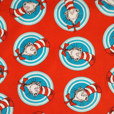 Dr Seuss- Celebrate Seuss Cat In the Hat Striped Circle - Red