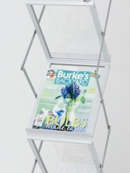 DR1003 - A4 x 6, Silver alloy frame with frosted acrylic slanted shelves