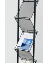 DR1004 A4 x 7, black powder coasted frame with slanted shelves and castors