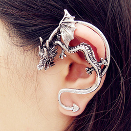 Dragon Ear Cuff - Silver Plated