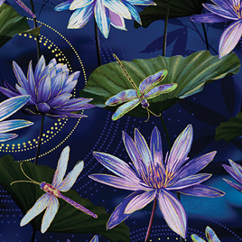 Dragonfly Dance Waterlily Pool Colbalt Blue 849959