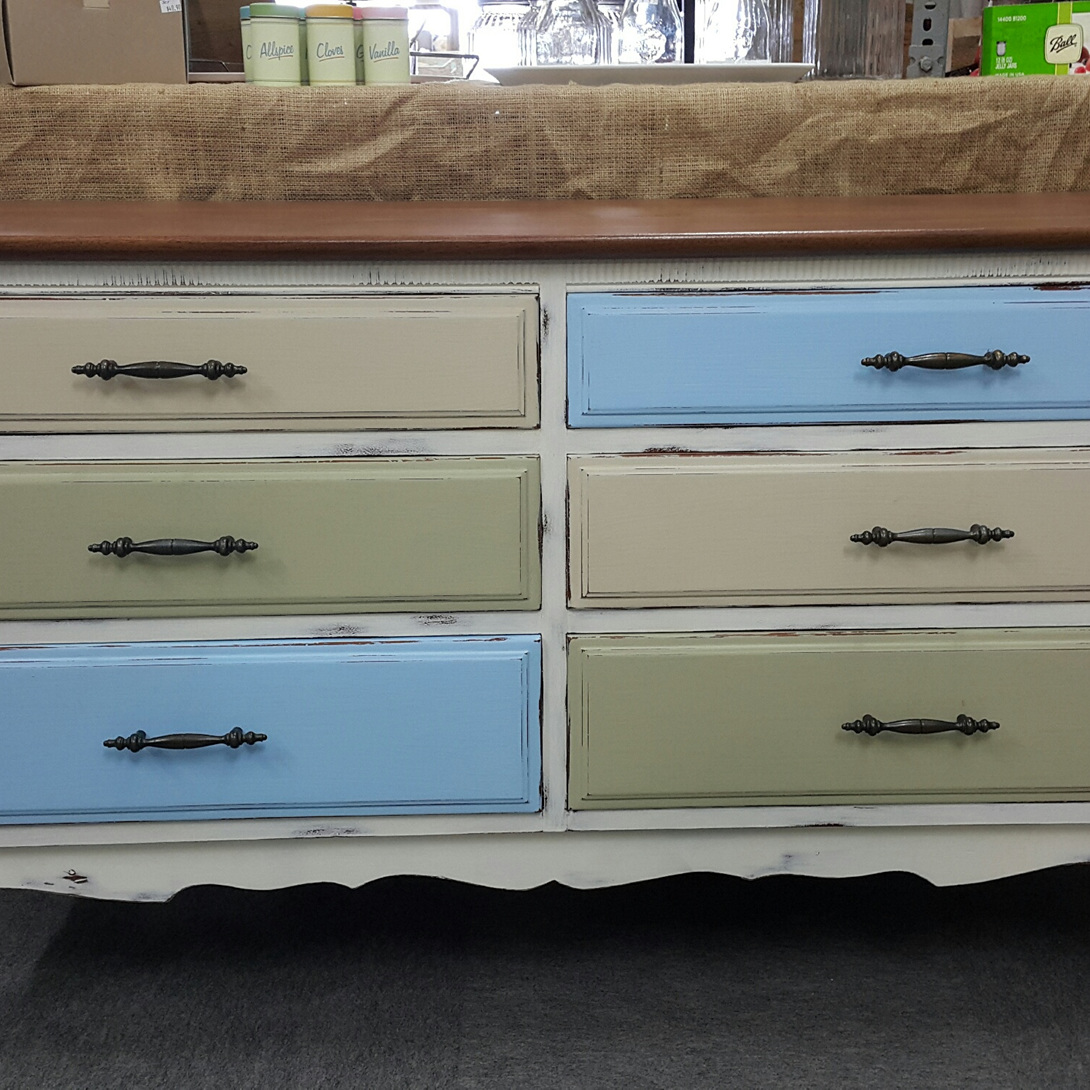 Multi coloured chest of drawers