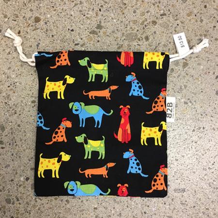Drawstring Bag Dog Print 16.5 x 18cm