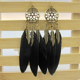 Dream Catcher Earrings With Black Feathers