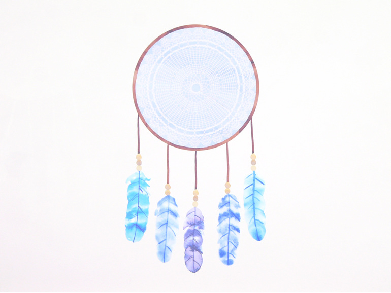 Dreamcatcher blue wall decal