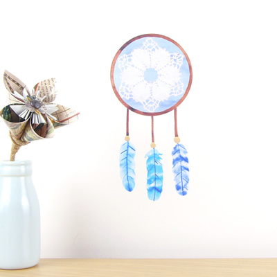 Dreamcatcher Blue wall decal  tiny