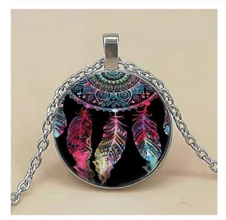 Dreamcatcher Glass Pendant Necklace (Silver)
