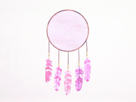 Dreamcatcher Pink wall decal medium