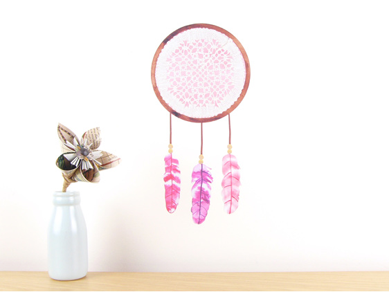 Dreamcatcher Pink wall decal  small