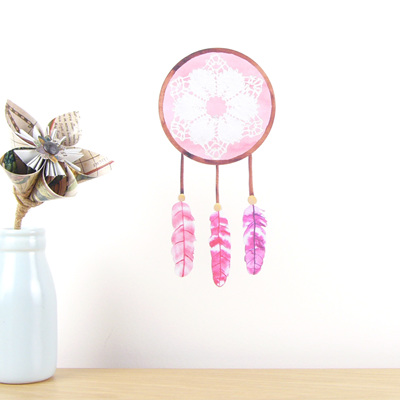 Dreamcatcher Pink wall decal  tiny