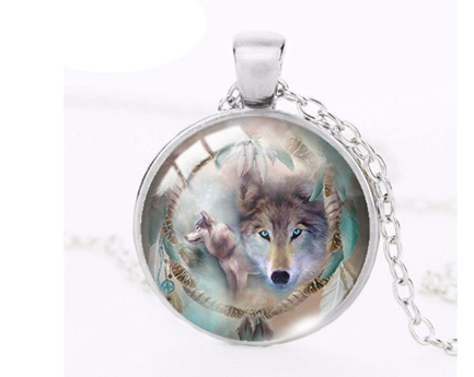 Dreamcatcher Wolf Pendant Necklace