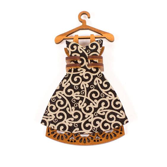dress christmas decoration - black koru - new zealand made