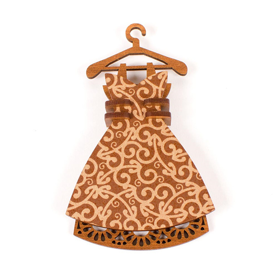 dress christmas decoration - brown koru - new zealand made