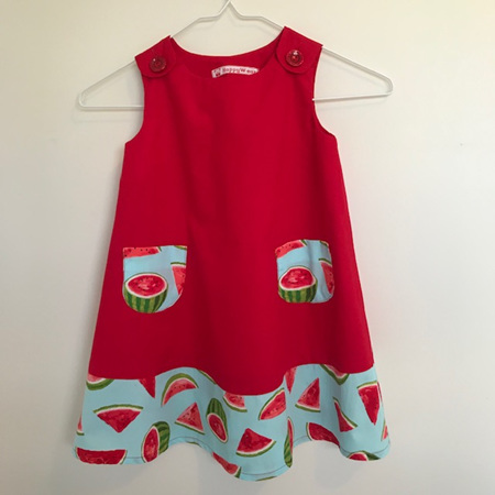 Dress with shoulder buttons: Combined red with watermelon print - Size 4 Toddler