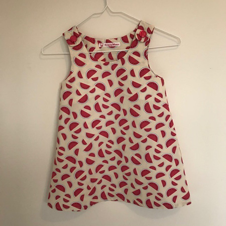 Dress with shoulder buttons: Watermelon/cream - Size 4 Toddler
