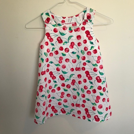 Dress with shoulder buttons: White with cherry print.  Plain - Size 4 Toddler