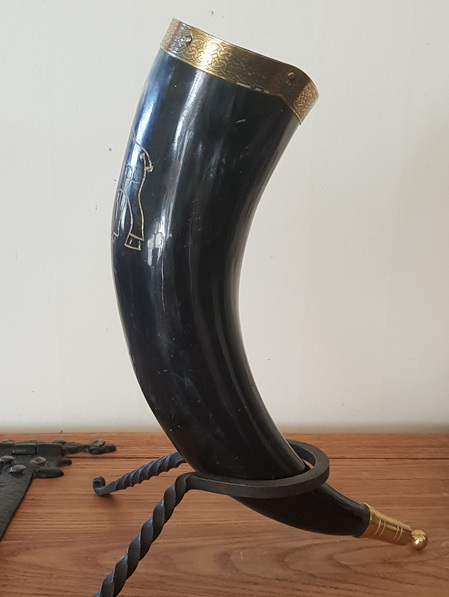 Drinking Horn Type 21 - Engraved Celtic Boar and Brass Fittings