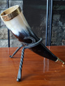 Drinking Horn Type 35 - Carved Horse design and Brass Fittings