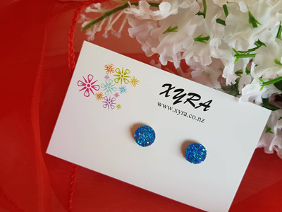 Druzy Studs - purple,  royal blue and copper