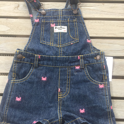 Dside tales denim overalls with little pink crabs