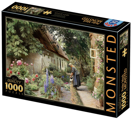 Dtoys 1000 Piece Jigsaw Puzzle: Mønsted - An Old Woman Watering the Flowers