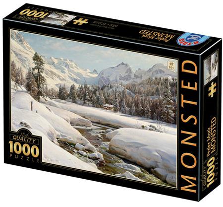Dtoys 1000 Piece Jigsaw Puzzle: Peder Mønsted - Winter Landscape in Switzerland near Engadin