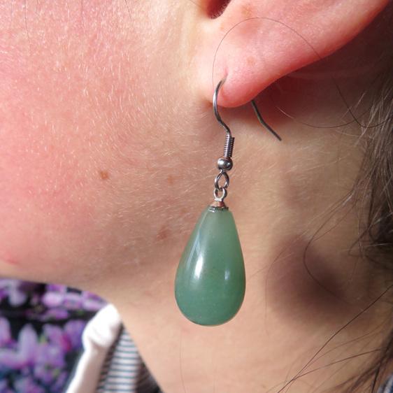 Dusky green aventurine drop earrings.