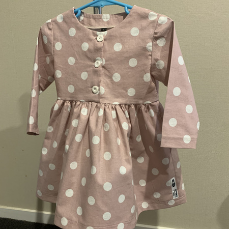 Dusky Pink Linen Spots, Long Sleeve dress - Size 2