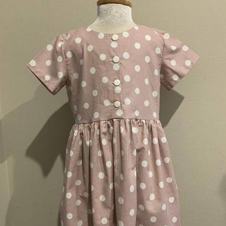 Dusky Pink Linen Spots, Short Sleeve dress - Size 8