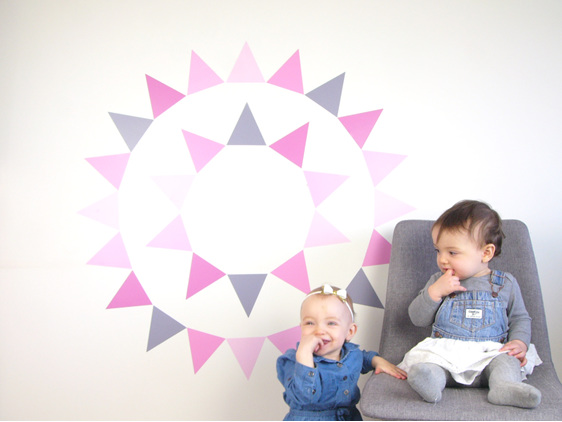 Dusky Pink triangles wall decal