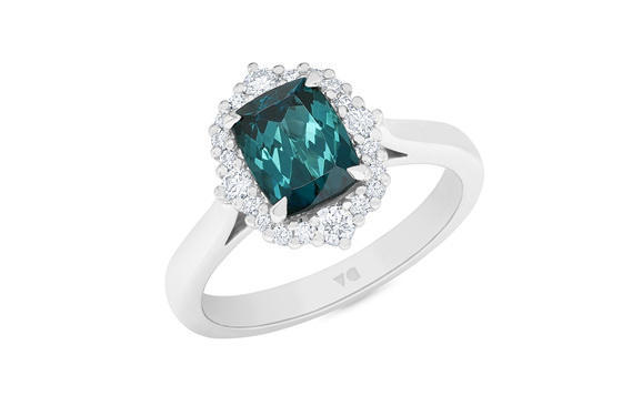 Dynasty: Teal Tourmaline Diamond Halo Ring