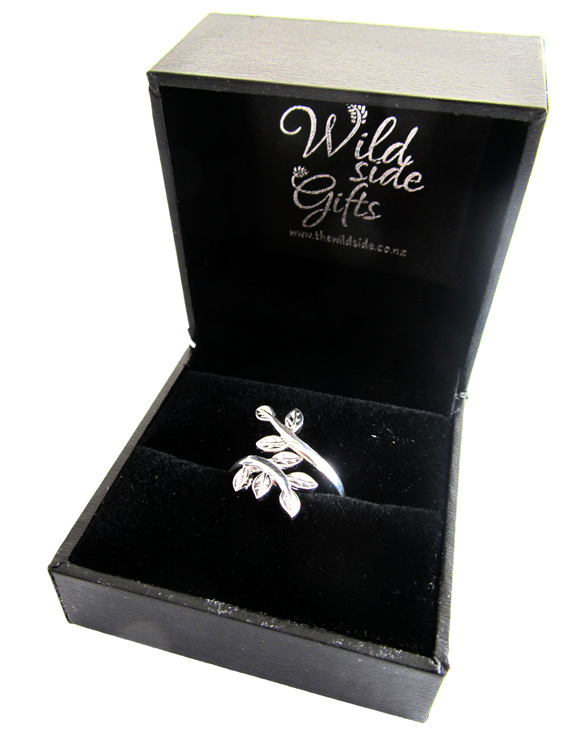 Each sterling silver leaves ring comes boxed in this attractive black box.
