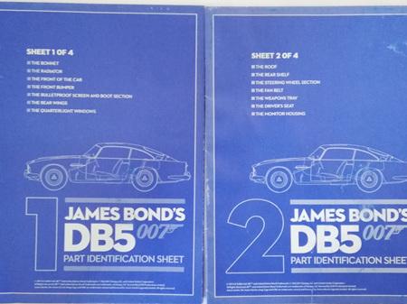 Eaglemoss 1/8 James Bond DB5 Weekly Magazine Part Identification Sheets 1 & 2