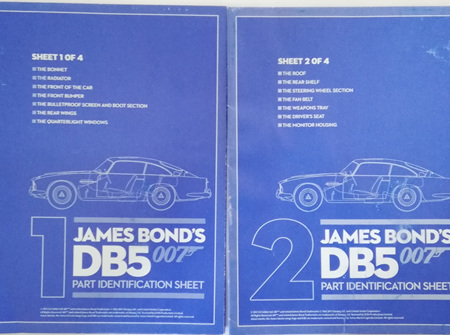 Eaglemoss 1/8 James Bond DB5 Weekly Magazine Part Identification Sheets 1 & 2