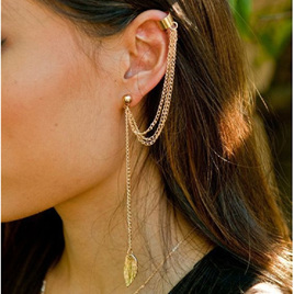 Ear Cuff & Chain Dangling Earring (Gold)