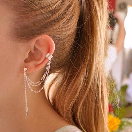 Ear Cuff & Chain Dangling Earring (Silver )