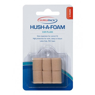 EAR PLUGS HUSH A FOAM 3 PAIRS SURGIPACK