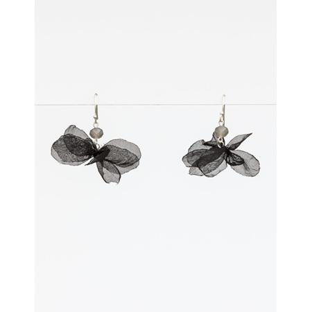 Earring black petal organza