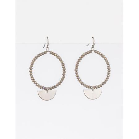 Earring Grey Bead Hoop with silver