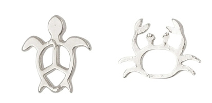 EARRING MINI TURTLE AND CRAB SILVER
